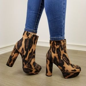 Shoes - Leopard animal print platform ankle booties-ii